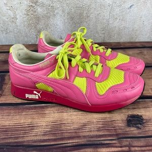 Puma R-System Pink/Fluorescent Yellow Sneakers